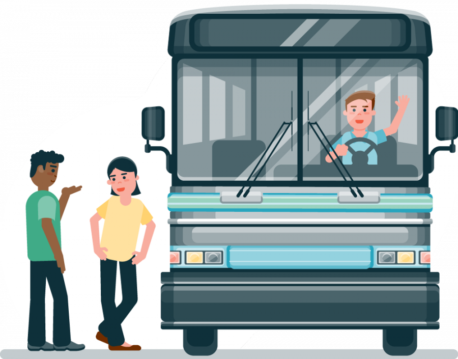 Flat design full color illustration of a group of passengers boarding a front facing charter bus with a cheerful driver.