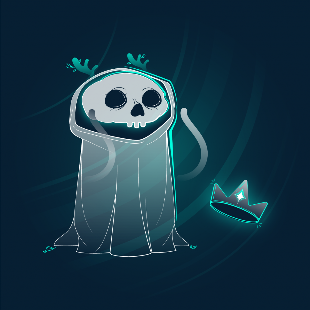 haracter design. Full color illustration of a white and green cloaked skull friend with antlers and a crown.