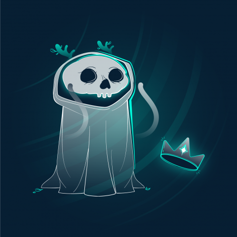 Character design. Full color illustration of a white and green cloaked skull friend with antlers and a crown.