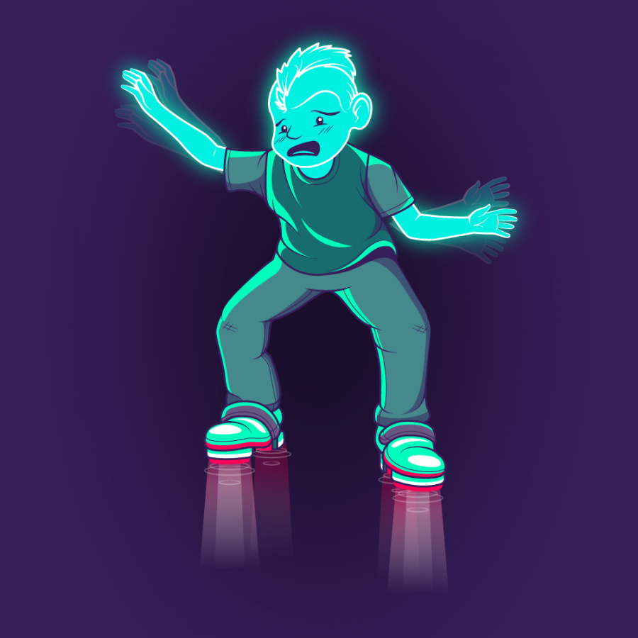 Character design. Full color illustration of a teal holographic boy struggling with hover boots.