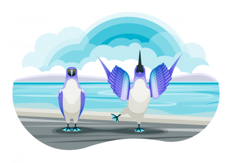 A pair of blue-footed-boobies on a beach. Stylized, flat color. Blue, purple, and off-white.