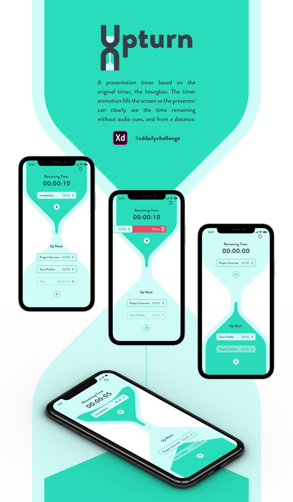 Mockup for a design for a presentation timer app.