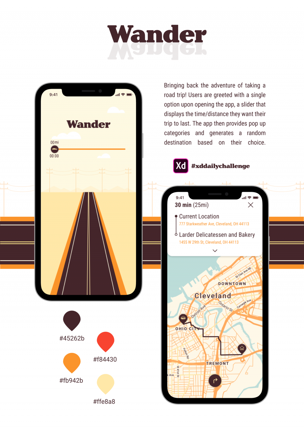 Mockup for a design for a road trip app.