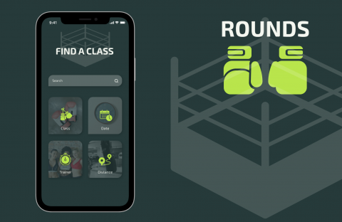 Mockup for a design for a gym class scheduling app.