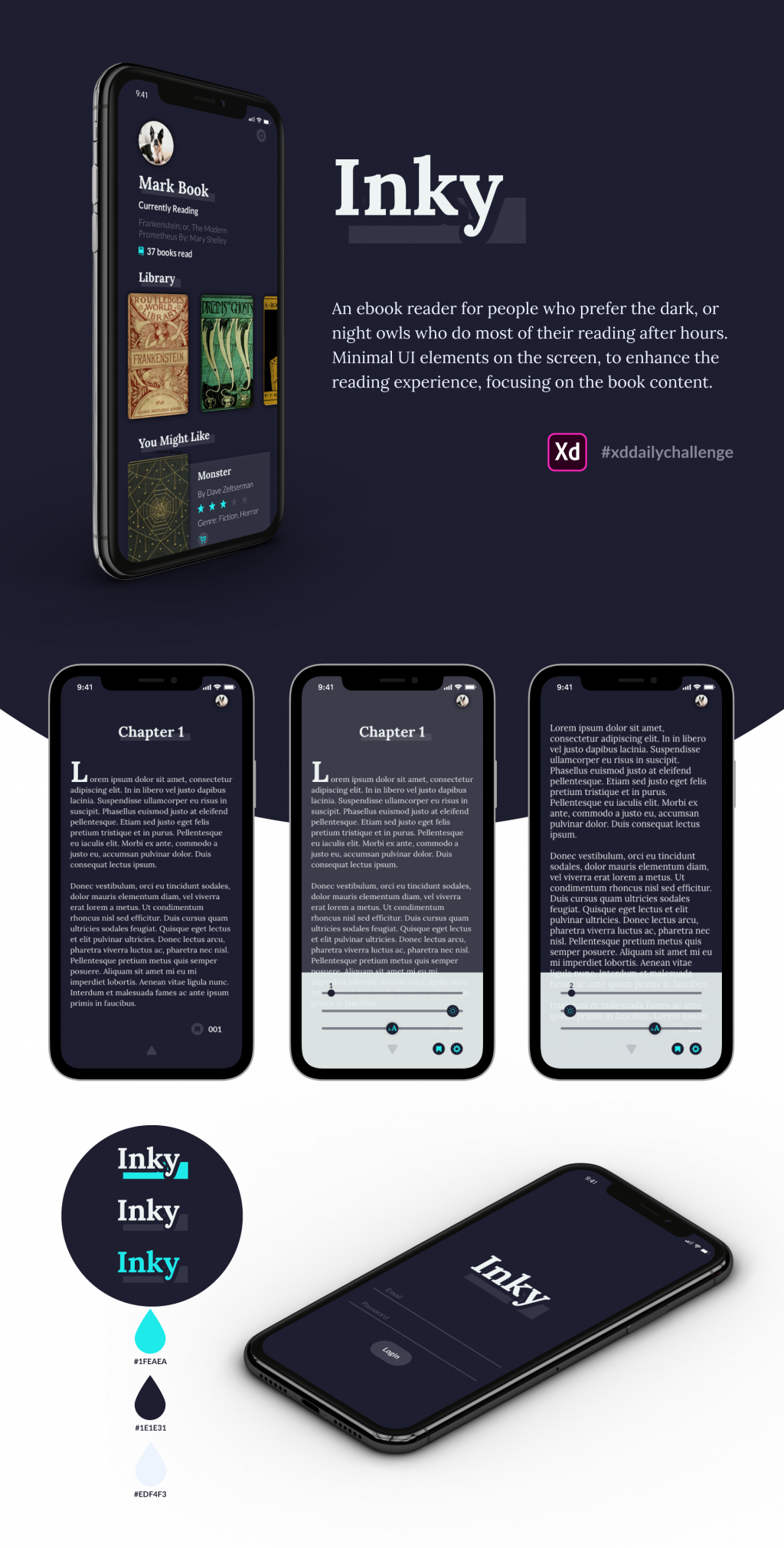 Mockup for a design for a e-reader