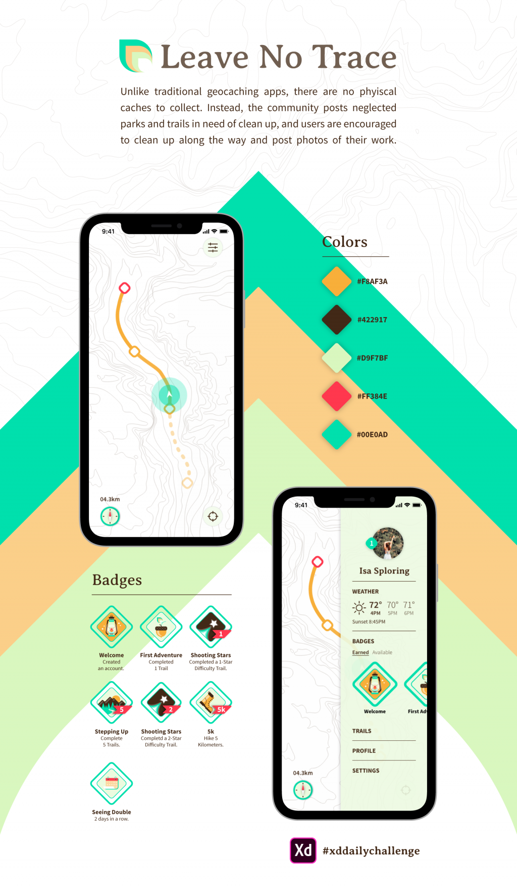Mockup for a design for a geocaching app.
