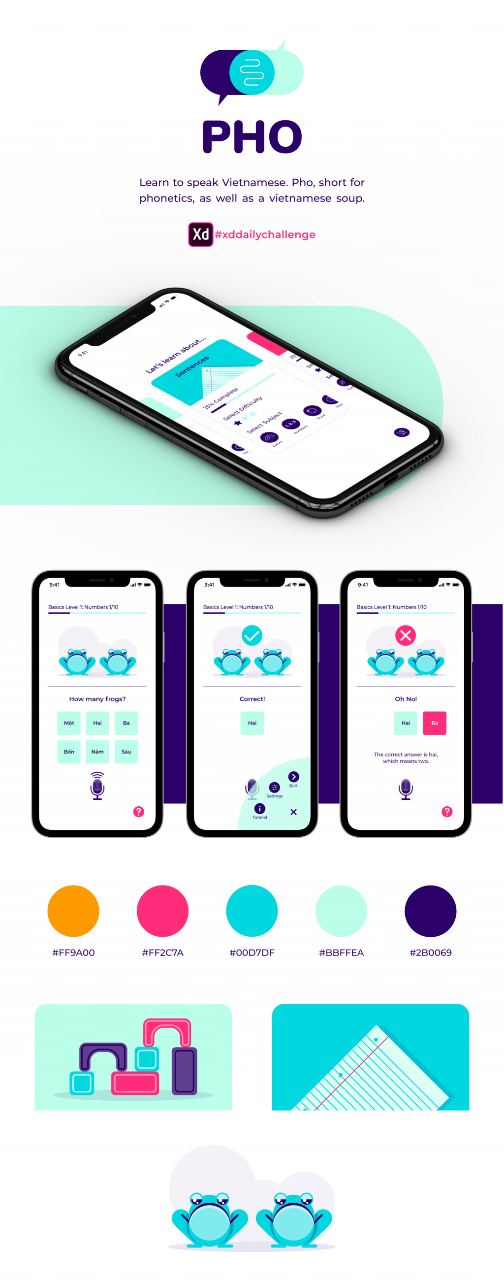 Mockup for a design for a language learning app.