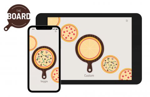 Mockup for a design for a custom pizza ordering app.