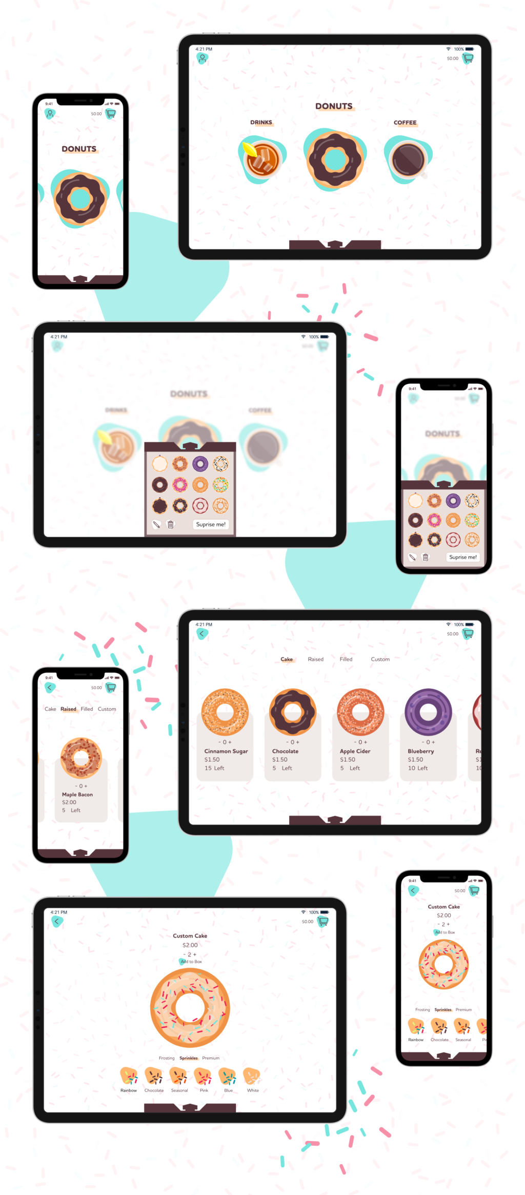 Anything Doughs app displayed on various screen sizes, tablets and phones. The menu selection screen, the adding a donut to your box screen, and the customize your donut screen.