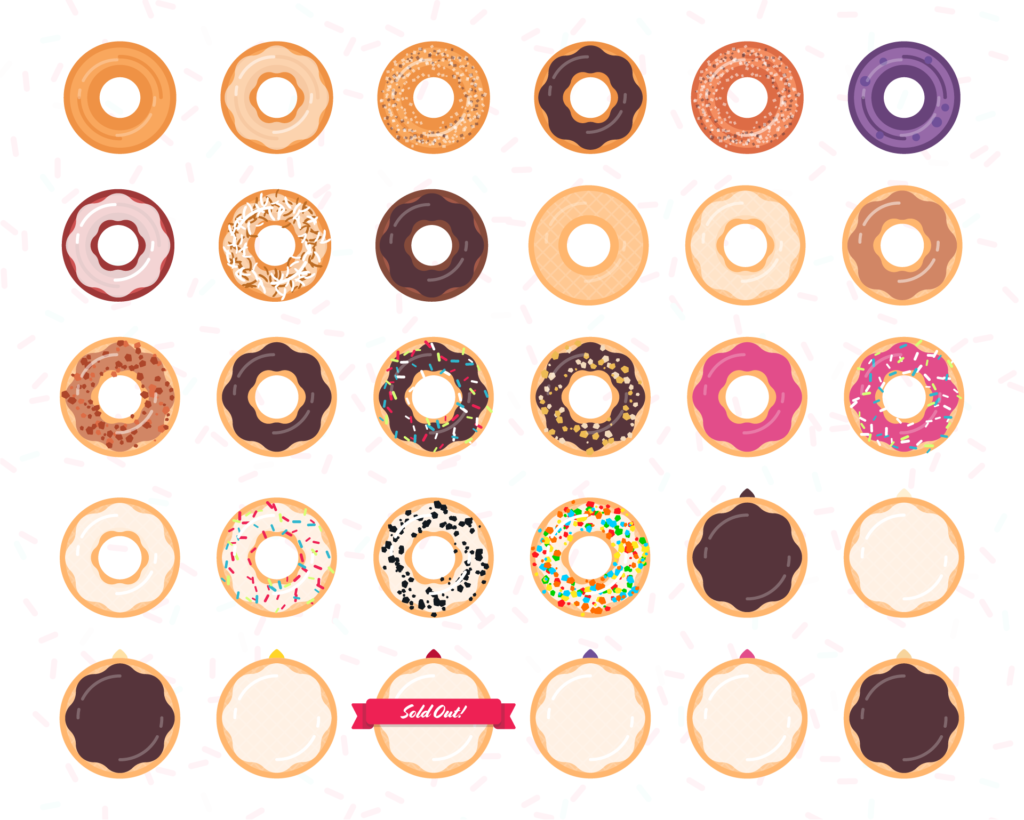 All of the different donut varieties in the app illustrated as icons