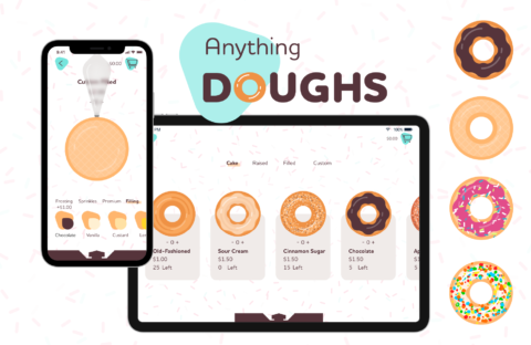 Mockup for a design for a custom donut ordering app named Anything Doughs.