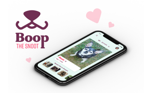 Mockup for a design for Boop the Snoot, a pet adoption app.